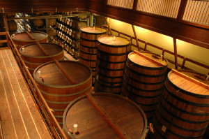 Large casks in Sonoma winery