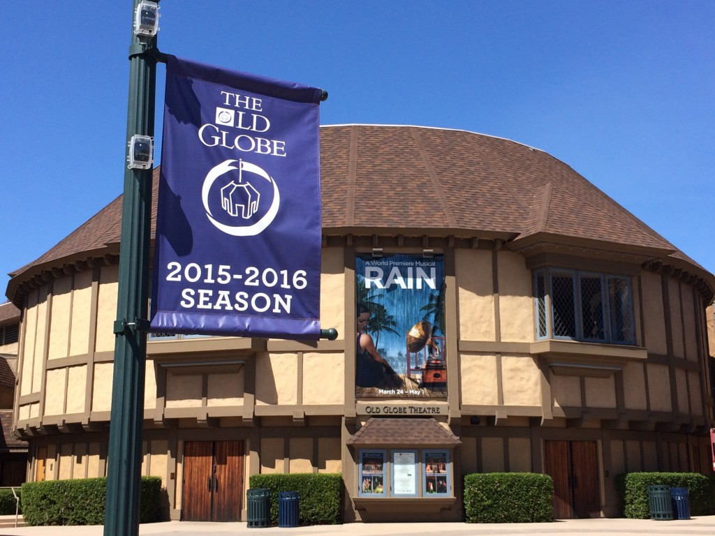 RAIN falling nightly at San Diego's Old Globe Theatre