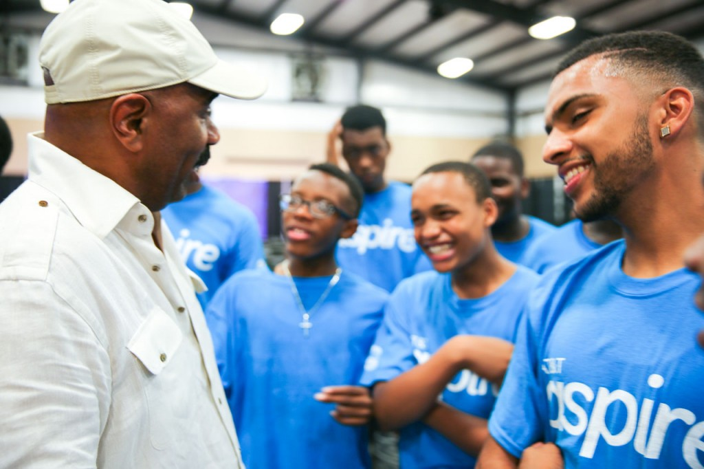 "Comedian Steve Harvey helping teenage boys learn to ""be a real man"""