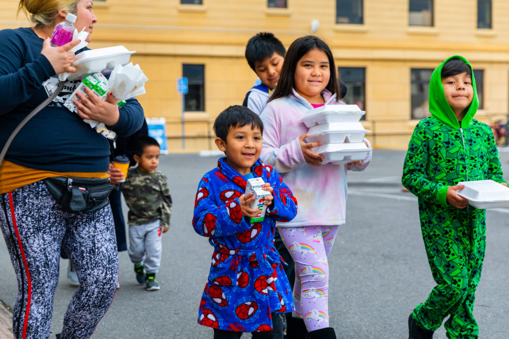 The Los Angeles Dream Center offers meals to families from the Los Angeles County School District as schools have closed