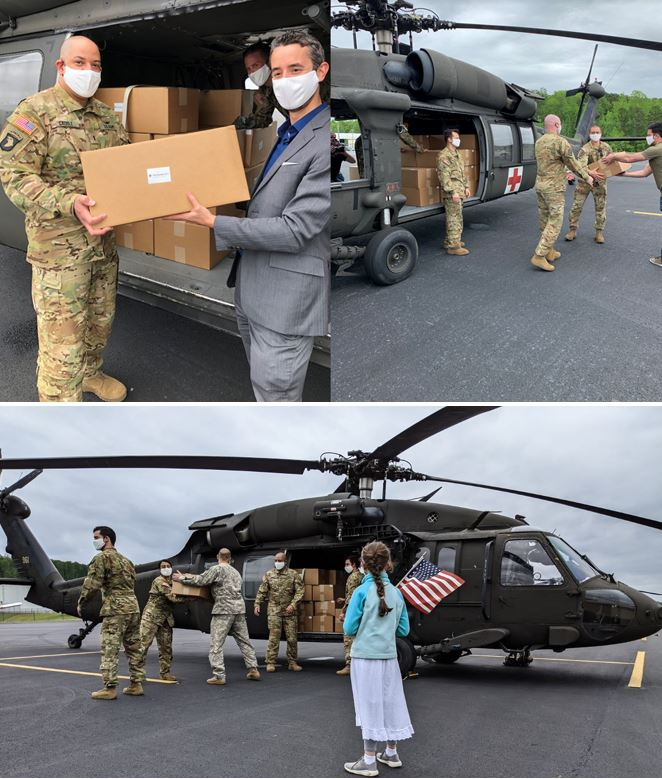 D.C. National Guard Black Hawk Helicopters Deliver 250,000 Nufabrx® PPE Masks Directly To First Responders