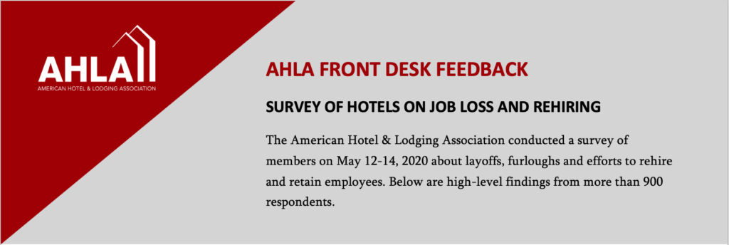 ICYMI: Survey-9 out of 10 hotels have laid off or furloughed staff, only one third able to rehire