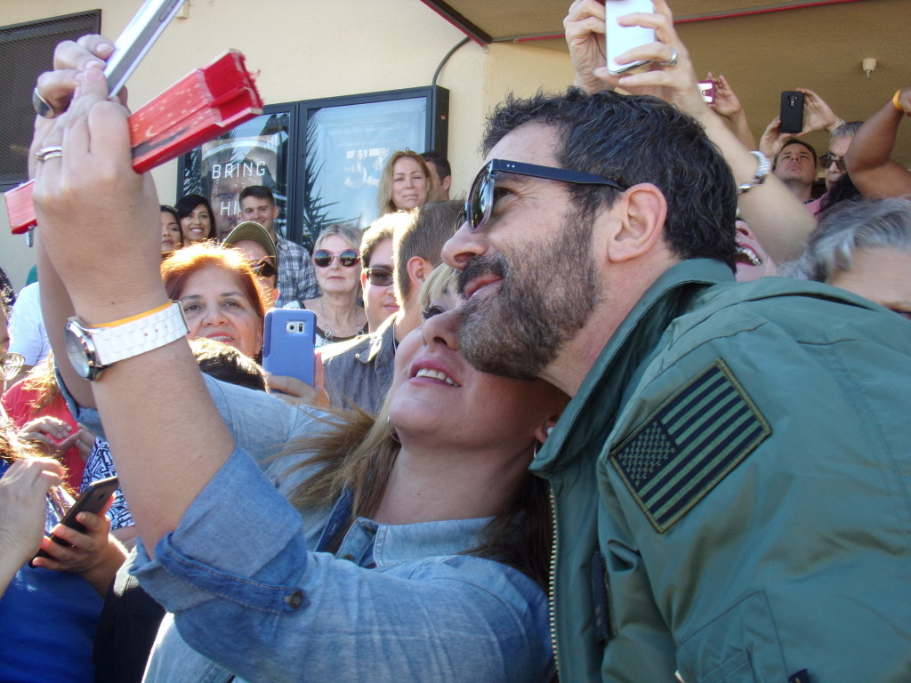 """Antonio Banderas meets with fans at MCAS Miramar while promoting """"The 33"""""""