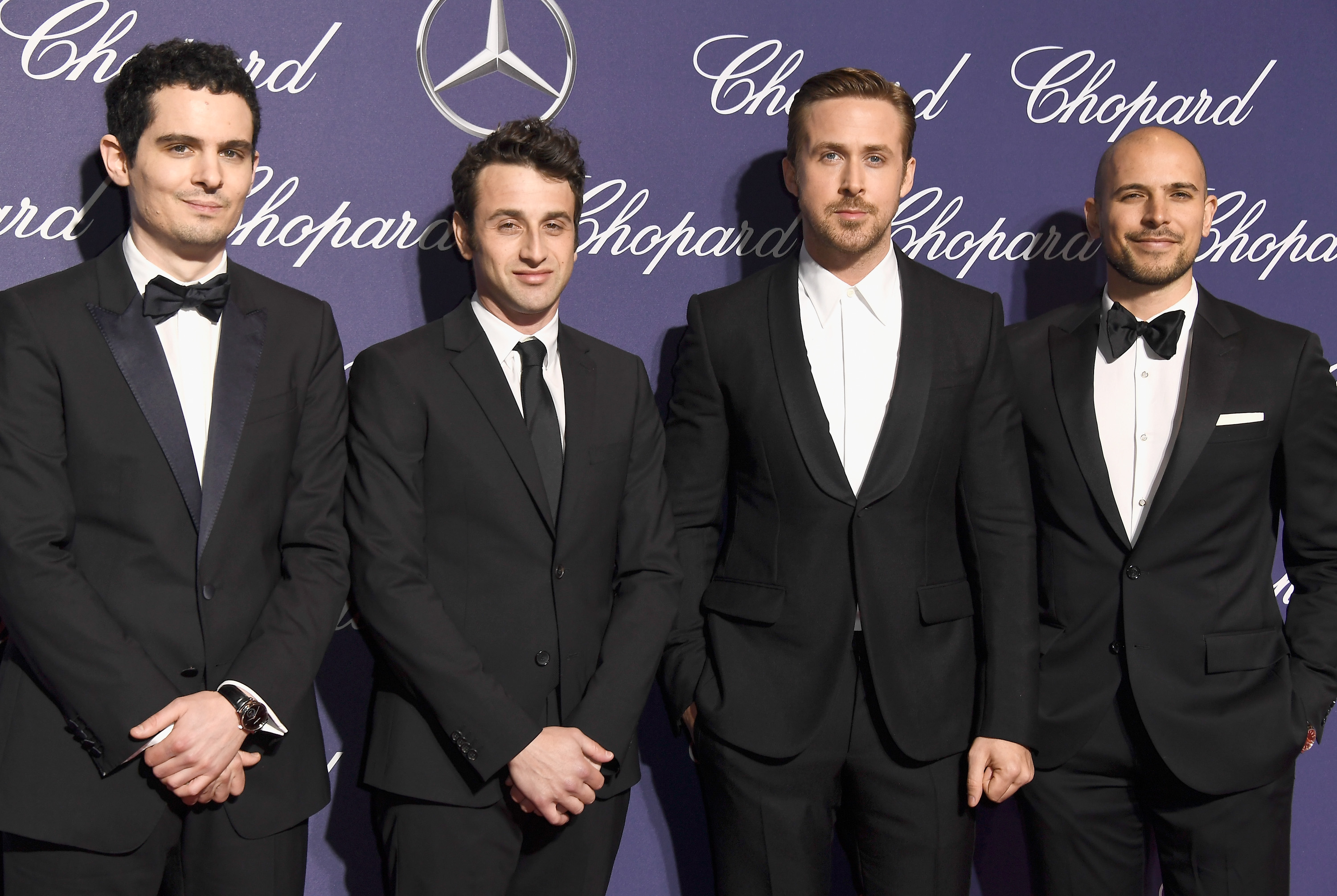 PALM SPRINGS, CA - JANUARY 02: Damien Chazelle, Justin Hurwitz, Ryan Gosling and Fred Berger attend the 28th Annual Palm Springs International Film Festival Film Awards Gala at the Palm Springs Convention Center on January 2, 2017 in Palm Springs, California. (Photo by Frazer Harrison/Getty Images )