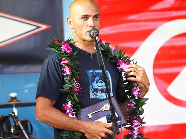 "Legendary surfer, Kelly Slater, receives the ""Key to Huntington Beach"""