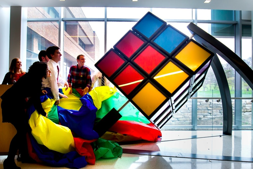 Students at the University of Michigan unveil a 1,500 pound, solvable Rubik's Cube