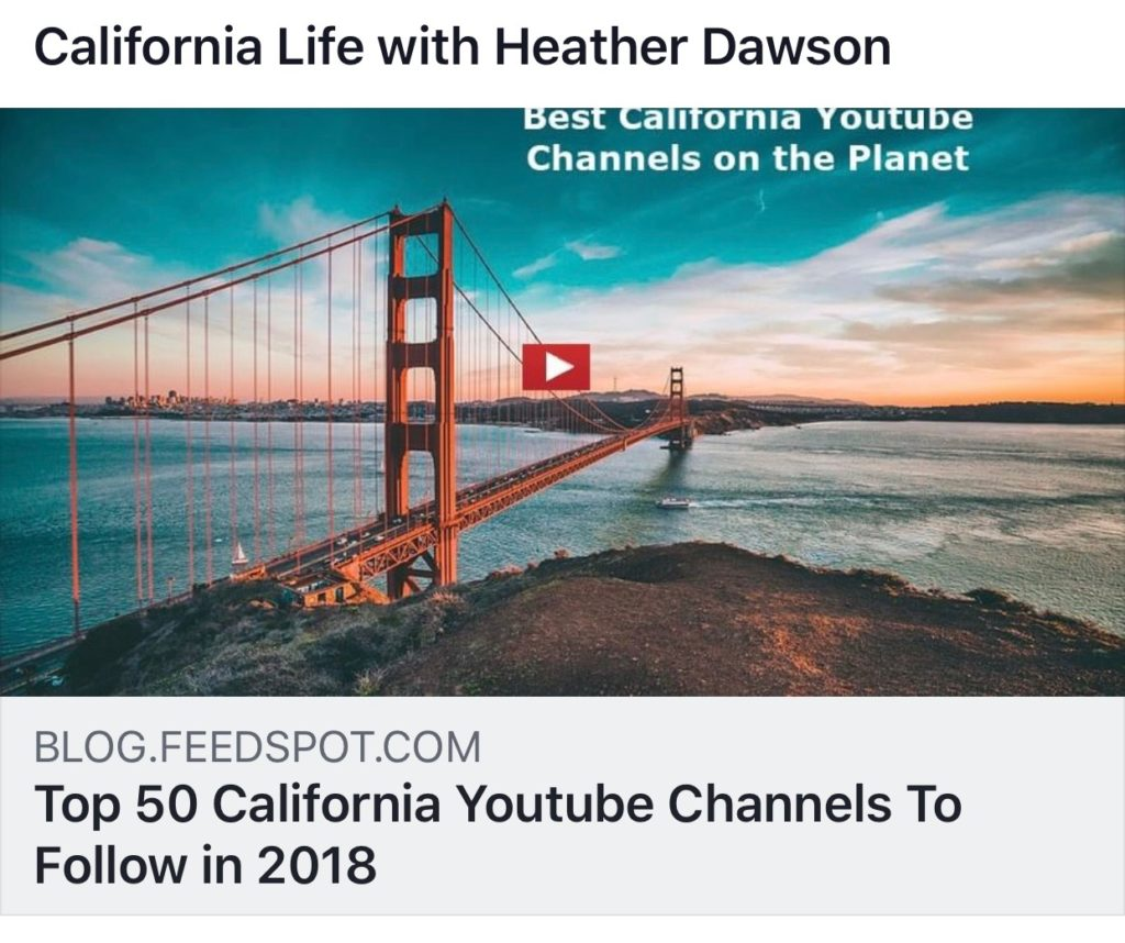 "California Life HD is Excited and Honored to Make ""Top 50 California Youtube Channels"""