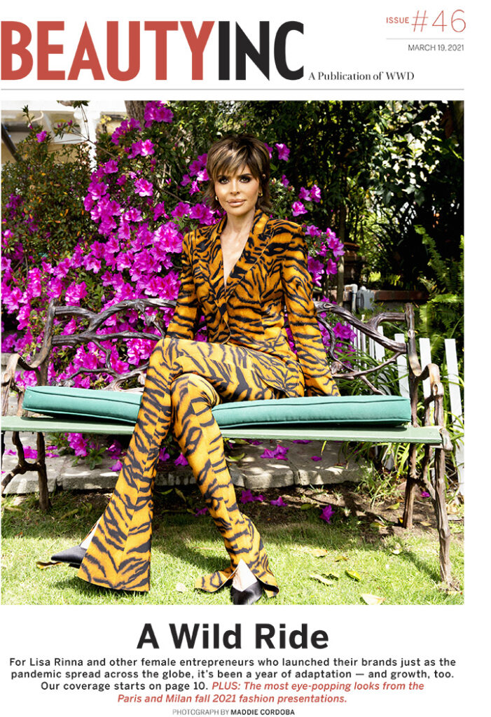Lisa Rinna on cover of WWD Beauty Inc, sharing the story of launching Rinna Beauty
